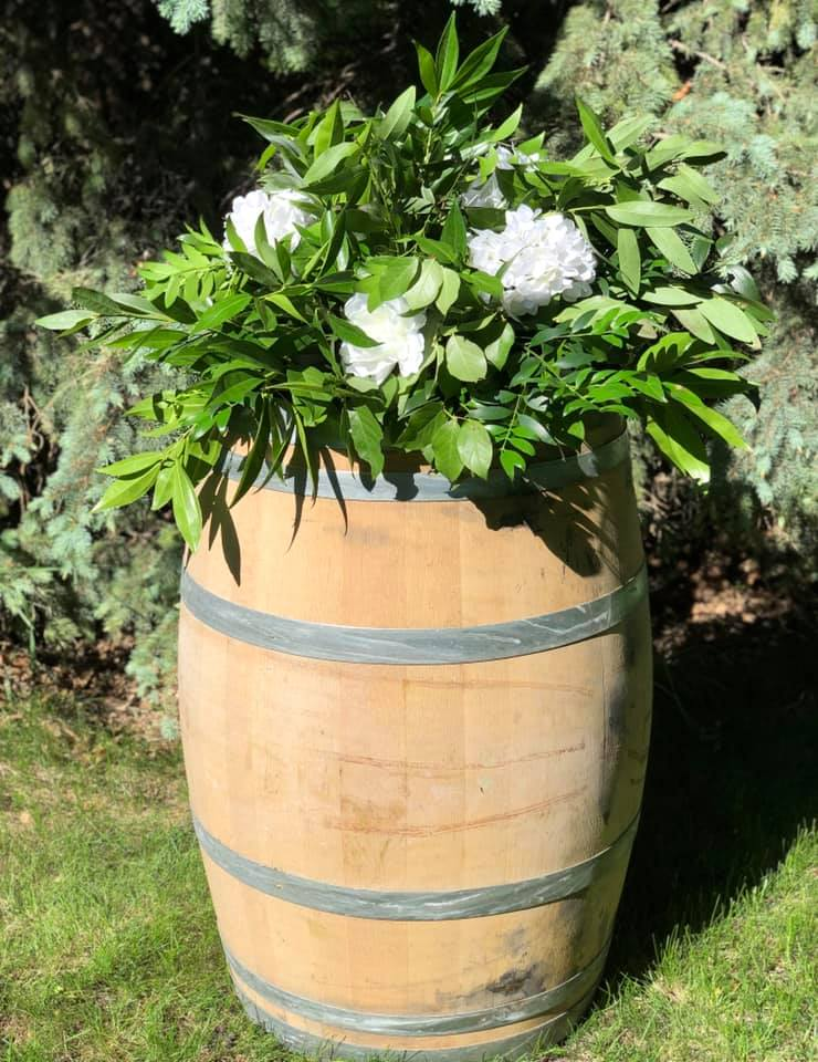Barrel With With Flowers